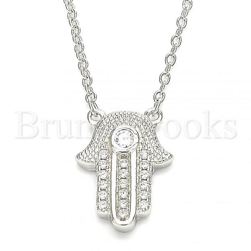 Bruna Brooks Sterling Silver 04.336.0206.16 Fancy Necklace, Hand of God Design, with White Cubic Zirconia and White Crystal, Polished Finish, Rhodium Tone