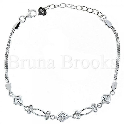 Bruna Brooks Sterling Silver 03.183.0042 Fancy Bracelet, and Diamond with White Crystal, Polished Finish, Rhodium Tone