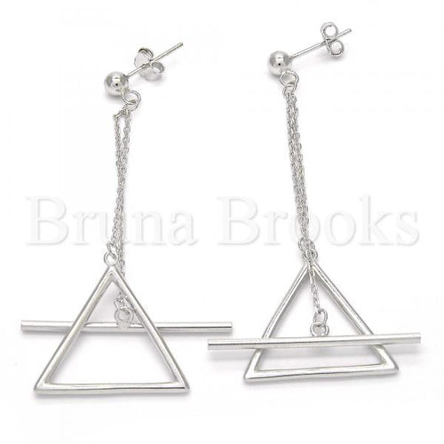 Bruna Brooks Sterling Silver 02.186.0093 Long Earring, Polished Finish, Rhodium Tone