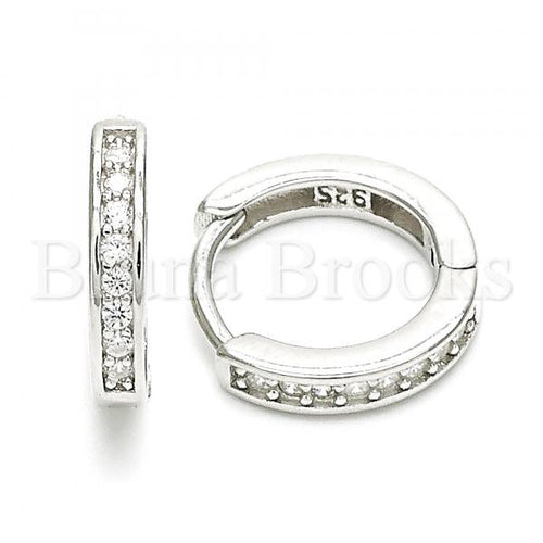 Bruna Brooks Sterling Silver 02.369.0033.15 Huggie Hoop, with White Cubic Zirconia, Polished Finish, Rhodium Tone