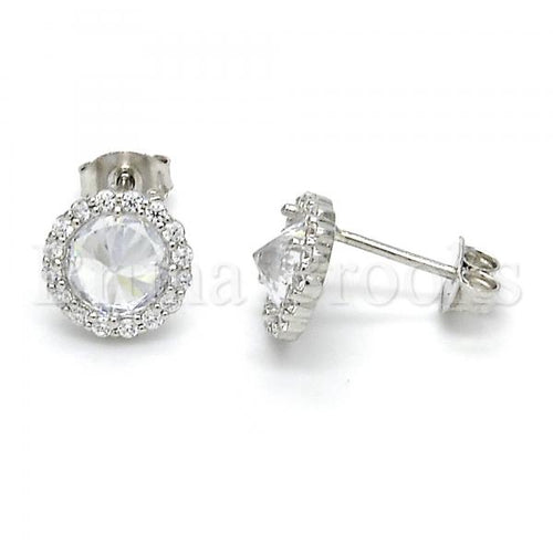 Bruna Brooks Sterling Silver 02.285.0069 Stud Earring, with White Cubic Zirconia, Polished Finish,