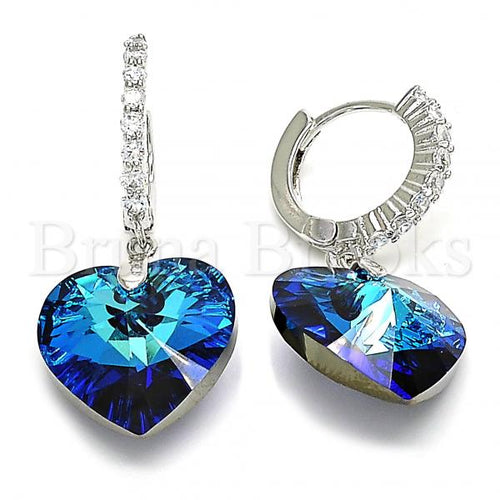 Rhodium Plated 02.26.0255 Dangle Earring, Heart Design, with Bermuda Blue Swarovski Crystals and White Cubic Zirconia, Polished Finish, Rhodium Tone