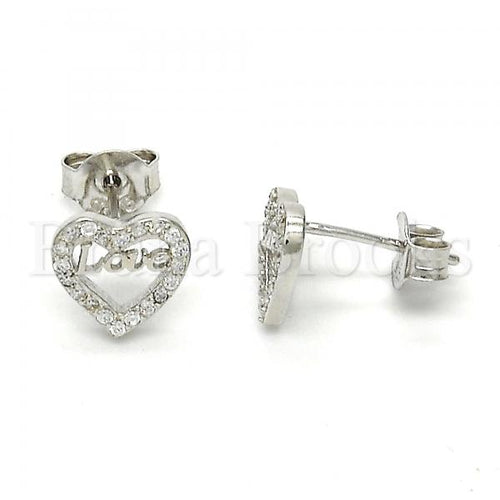 Bruna Brooks Sterling Silver 02.186.0035 Stud Earring, Heart and Love Design, with White Micro Pave, Polished Finish, Rhodium Tone