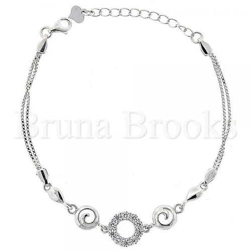 Bruna Brooks Sterling Silver 03.183.0007 Fancy Bracelet, with White Cubic Zirconia, Polished Finish, Rhodium Tone