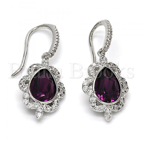 Rhodium Plated Dangle Earring, Teardrop Design, with Swarovski Crystals and Cubic Zirconia, Rhodium Tone