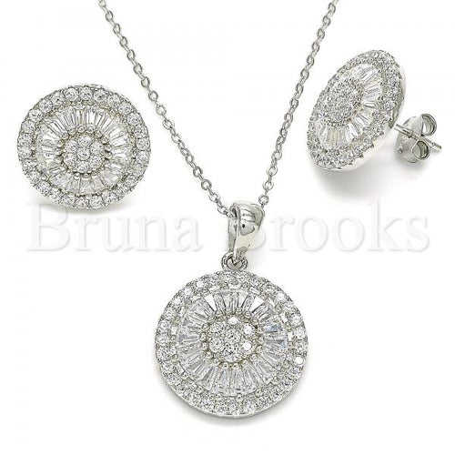 Bruna Brooks Sterling Silver 10.286.0021 Earring and Pendant Adult Set, with White Cubic Zirconia, Polished Finish, Rhodium Tone