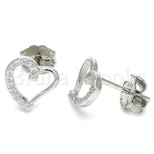 Sterling Silver Stud Earring, Heart Design, with Micro Pave, Rhodium Tone