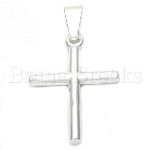 Bruna Brooks Sterling Silver 05.16.0197 Religious Pendant, Cross Design, Polished Finish, Silver Tone