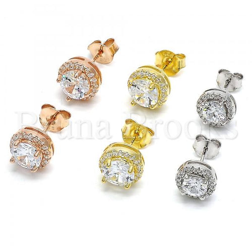 Sterling Silver Stud Earring, with Cubic Zirconia and Crystal, Golden Tone