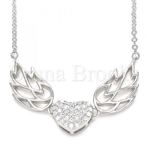 Bruna Brooks Sterling Silver 04.336.0198.16 Fancy Necklace, Heart Design, with White Crystal, Polished Finish, Rhodium Tone