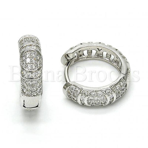 Bruna Brooks Sterling Silver 02.174.0064.20 Huggie Hoop, with White Micro Pave, Polished Finish, Rhodium Tone