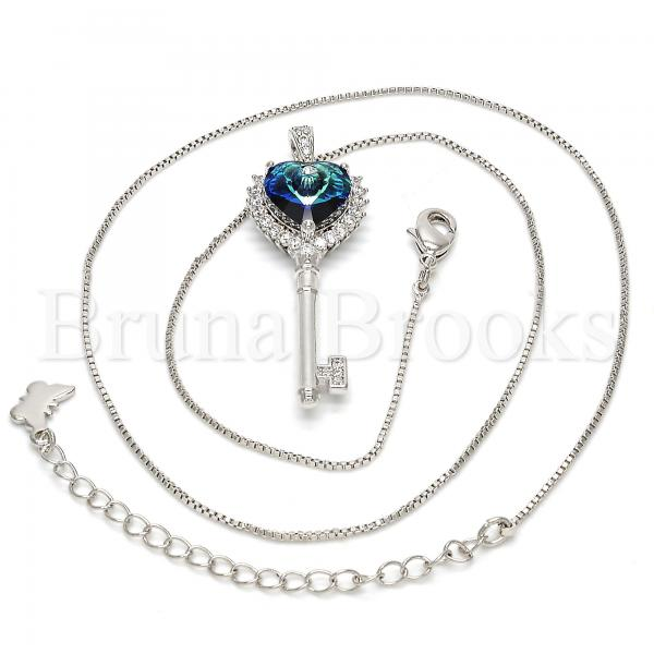 Rhodium Plated 04.239.0035.16 Fancy Necklace, key and Heart Design, with Bermuda Blue Swarovski Crystals and White Micro Pave, Polished Finish, Rhodium Tone