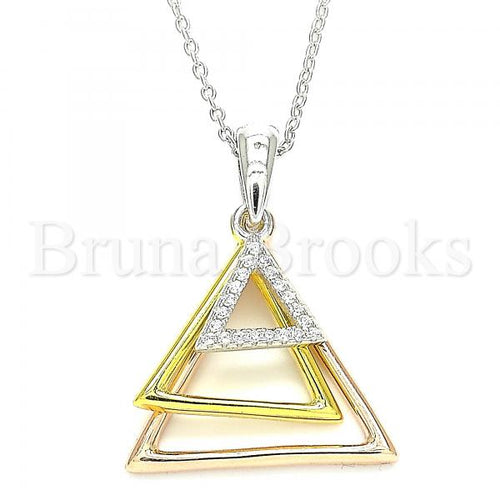 Bruna Brooks Sterling Silver 04.336.0208.16 Fancy Necklace, with White Crystal, Polished Finish, Tri Tone