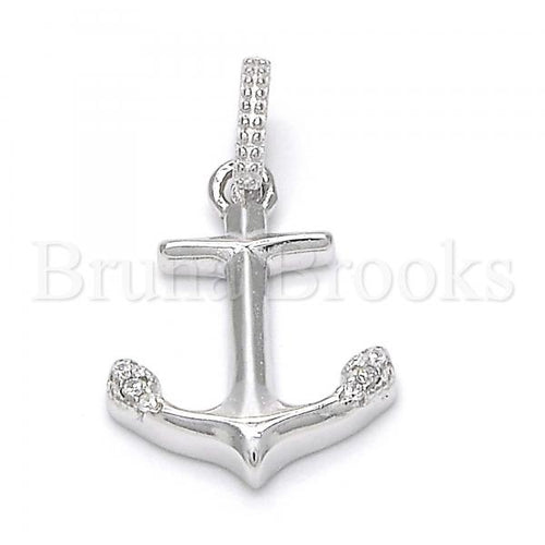 Bruna Brooks Sterling Silver 05.336.0017 Fancy Pendant, Anchor Design, with White Crystal, Polished Finish, Rhodium Tone