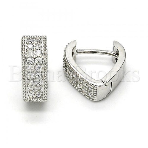 Bruna Brooks Sterling Silver 02.174.0060.15 Huggie Hoop, with White Cubic Zirconia, Polished Finish, Rhodium Tone
