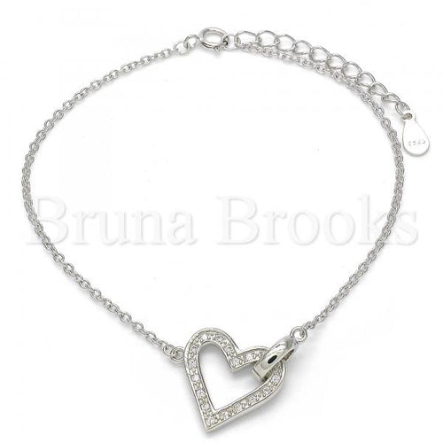 Bruna Brooks Sterling Silver 03.336.0003.07 Fancy Bracelet, Heart Design, with White Micro Pave, Polished Finish, Rhodium Tone