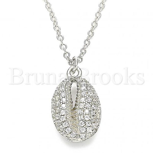 Bruna Brooks Sterling Silver 04.336.0172.16 Fancy Necklace, with White Crystal, Polished Finish, Rhodium Tone