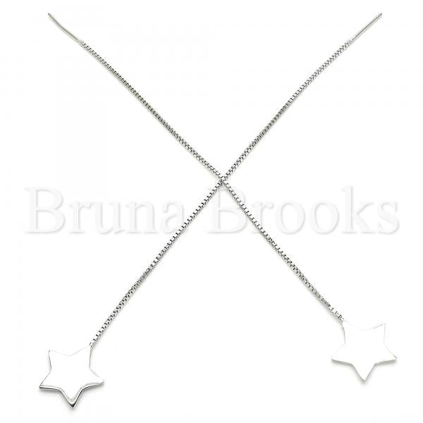 Sterling Silver 02.332.0081 Threader Earring, Star Design, Polished Finish, Rhodium Tone