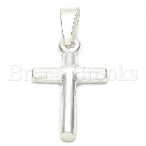 Bruna Brooks Sterling Silver 05.16.0198 Religious Pendant, Cross Design, Polished Finish, Silver Tone