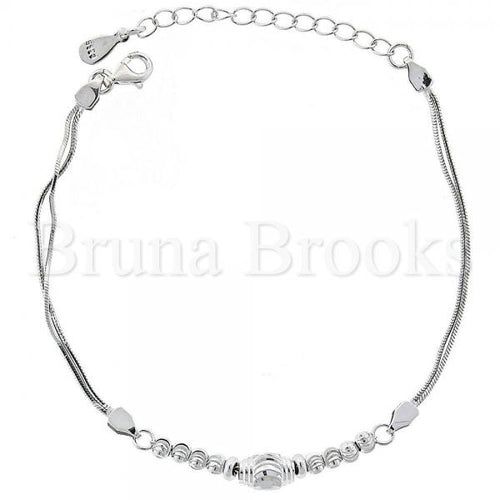 Bruna Brooks Sterling Silver 03.183.0072.06 Fancy Bracelet, Ball Design, Rhodium Tone