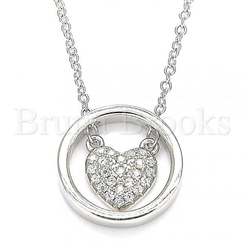 Bruna Brooks Sterling Silver 04.336.0171.16 Fancy Necklace, Heart Design, with White Crystal, Polished Finish, Rhodium Tone