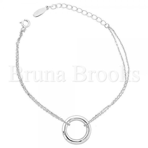 Bruna Brooks Sterling Silver 03.176.0001 Fancy Bracelet, Rhodium Tone