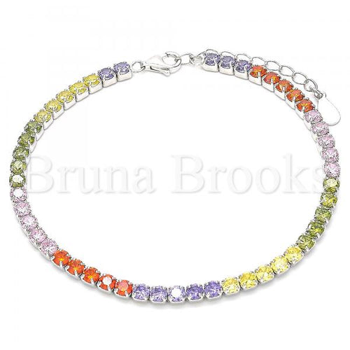 Bruna Brooks Sterling Silver 03.332.0003.07 Tennis Bracelet, with Multicolor Crystal, Polished Finish, Rhodium Tone