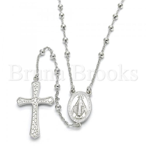 Bruna Brooks Sterling Silver 09.285.0003.28 Thin Rosary, Virgen Maria and Cross Design, Polished Finish, Rhodium Tone