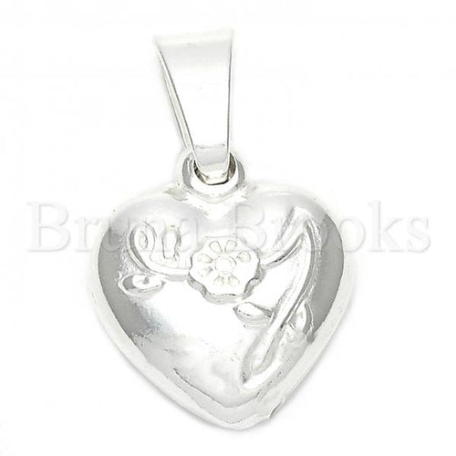 Bruna Brooks Sterling Silver 05.16.0207 Fancy Pendant, Flower and Heart Design, Polished Finish, Silver Tone