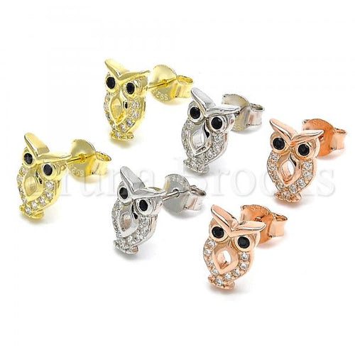 Sterling Silver Stud Earring, Owl Design, with Cubic Zirconia, Rhodium Tone