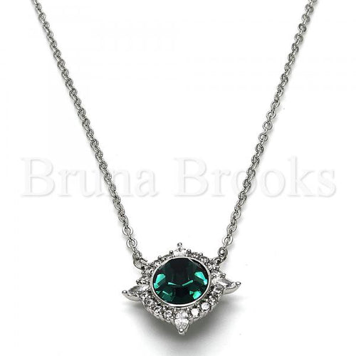 Rhodium Plated 04.26.0019.16 Fancy Necklace, with Emerald Swarovski Crystals and White Cubic Zirconia, Polished Finish, Rhodium Tone