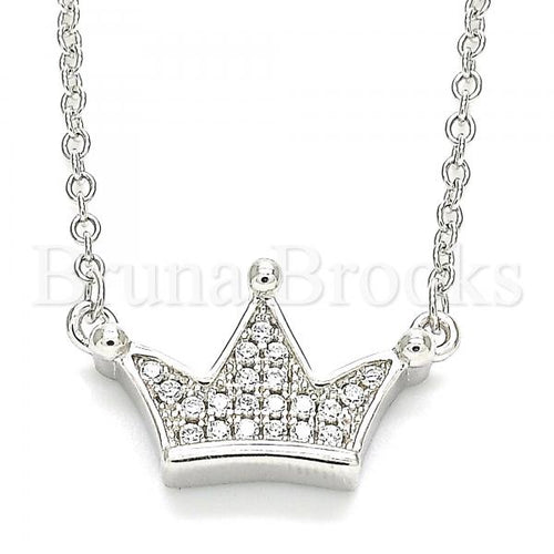 Bruna Brooks Sterling Silver 04.336.0174.16 Fancy Necklace, Crown Design, with White Crystal, Polished Finish, Rhodium Tone