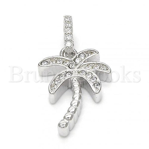 Bruna Brooks Sterling Silver 05.336.0029 Fancy Pendant, Tree Design, with White Crystal, Polished Finish, Rhodium Tone