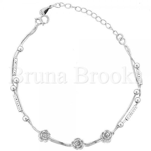 Bruna Brooks Sterling Silver 03.183.0055.06 Fancy Bracelet, Flower Design, Rhodium Tone