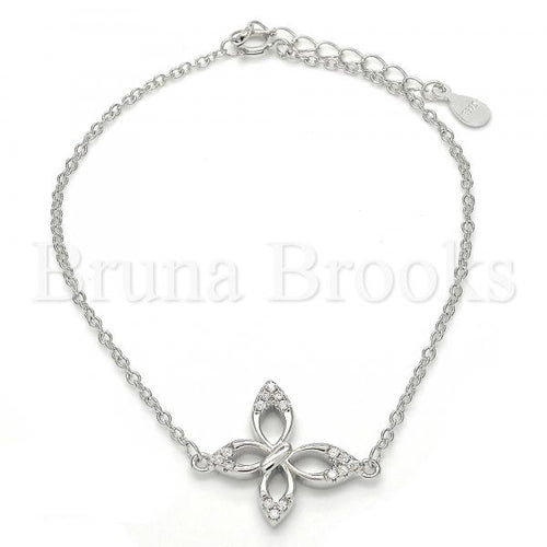 Bruna Brooks Sterling Silver 03.336.0013.07 Fancy Bracelet, Butterfly Design, with White Crystal, Polished Finish, Rhodium Tone