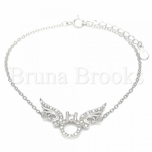 Bruna Brooks Sterling Silver 03.336.0088.07 Fancy Bracelet, with White Crystal, Polished Finish, Rhodium Tone