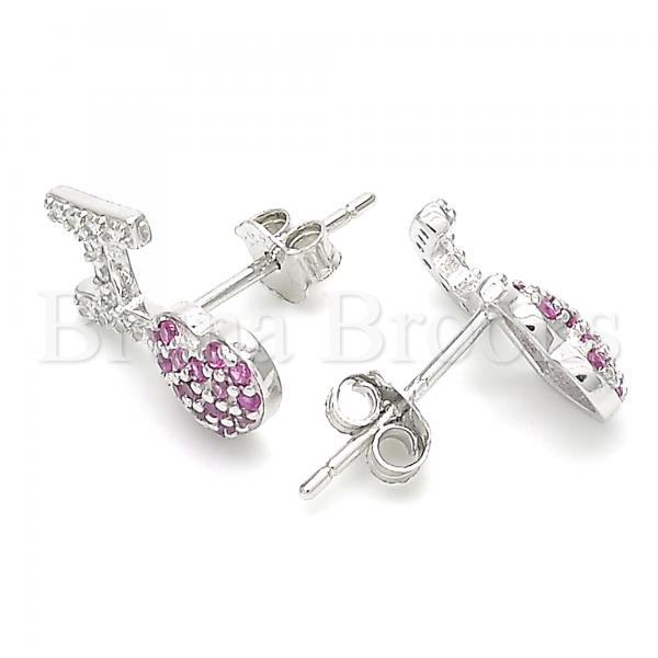 Sterling Silver 02.371.0001 Stud Earring, Heart Design, with Ruby and White Cubic Zirconia, Polished Finish, Rhodium Tone