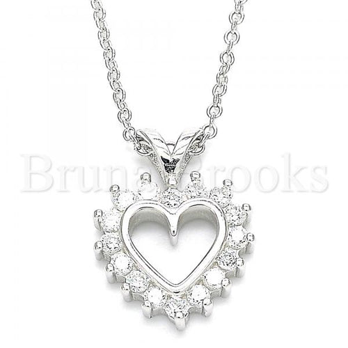 Bruna Brooks Sterling Silver 04.336.0211.16 Fancy Necklace, Heart Design, with White Cubic Zirconia, Polished Finish, Rhodium Tone