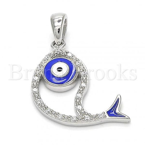 Bruna Brooks Sterling Silver 05.336.0024 Fancy Pendant, Fish Design, with White Cubic Zirconia, Polished Finish, Rhodium Tone