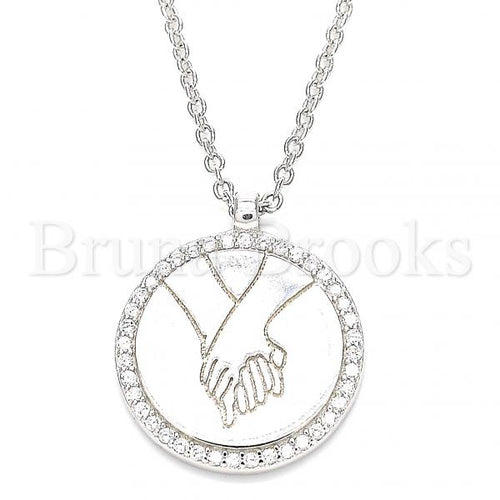 Bruna Brooks Sterling Silver 04.336.0186.16 Fancy Necklace, with White Cubic Zirconia, Polished Finish, Rhodium Tone