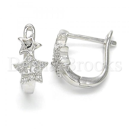Bruna Brooks Sterling Silver 02.332.0036.12 Huggie Hoop, Star Design, with White Micro Pave, Polished Finish, Rhodium Tone