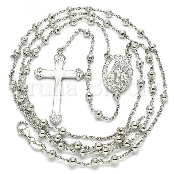 Sterling Silver 09.285.0005.28 Thin Rosary, Virgen Maria and Cross Design, Polished Finish, Rhodium Tone