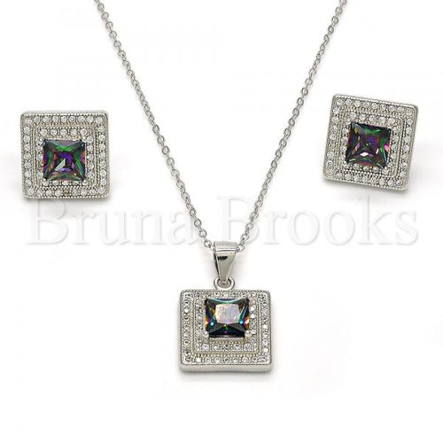 Bruna Brooks Sterling Silver 10.186.0030 Earring and Pendant Adult Set, with  Cubic Zirconia and White Micro Pave, Polished Finish, Rhodium Tone