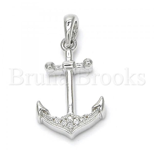 Bruna Brooks Sterling Silver 05.336.0002 Fancy Pendant, Anchor Design, with White Crystal, Polished Finish, Rhodium Tone