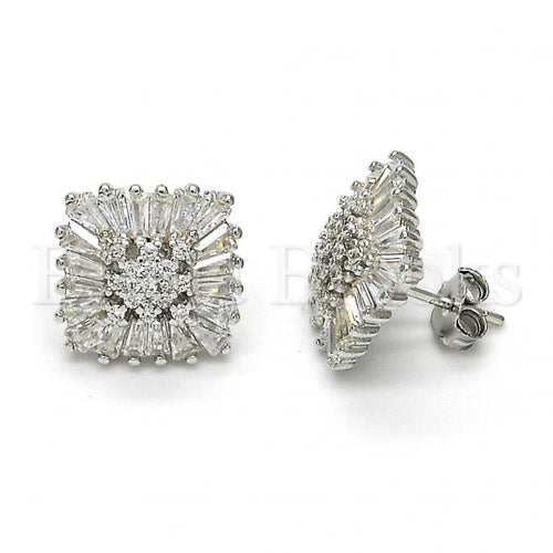 Bruna Brooks Sterling Silver 02.175.0126 Stud Earring, with White Cubic Zirconia, Polished Finish, Rhodium Tone