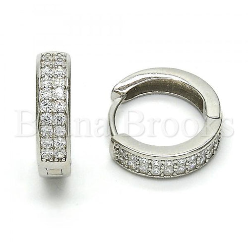 Bruna Brooks Sterling Silver 02.174.0055.15 Huggie Hoop, with White Cubic Zirconia, Polished Finish, Rhodium Tone