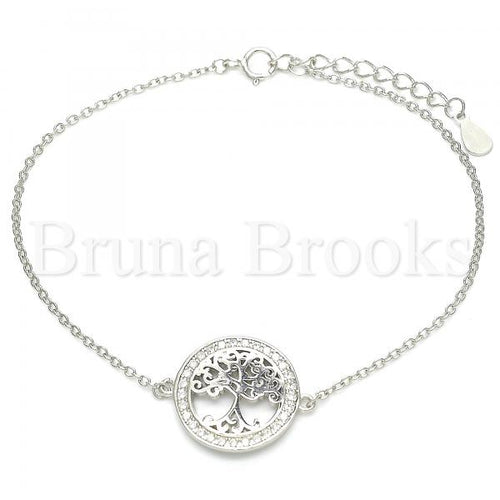 Bruna Brooks Sterling Silver 03.336.0063.07 Fancy Bracelet, Tree Design, with White Micro Pave, Polished Finish, Rhodium Tone