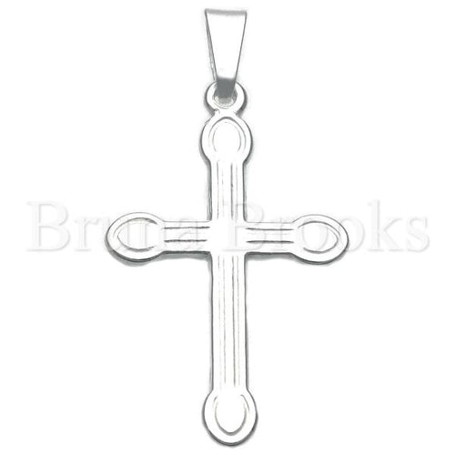 Bruna Brooks Sterling Silver 05.16.0193 Religious Pendant, Crucifix Design, Diamond Cutting Finish, Silver Tone