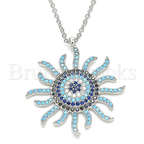 Bruna Brooks Sterling Silver 04.336.0227.16 Fancy Necklace, with Multicolor Micro Pave, Polished Finish, Rhodium Tone