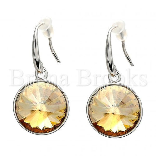 Rhodium Plated Dangle Earring, with Swarovski Crystals, Rhodium Tone